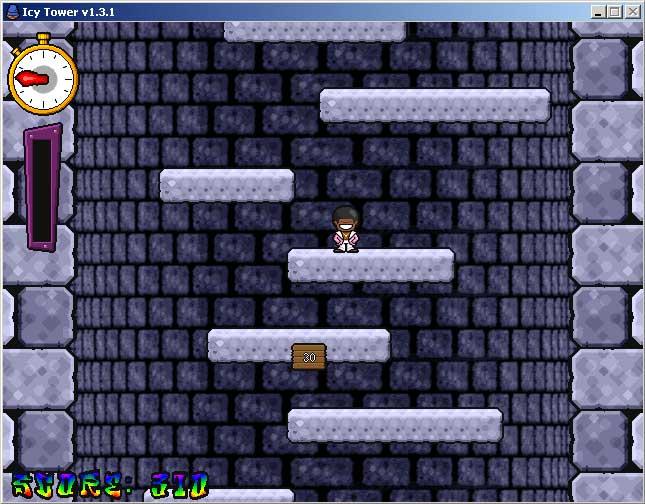 Icy Tower - gra zręcznościowa. Polega na jak najszybszym wskakiwaniu